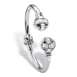"PalmBeach Baguette-Cut White Crystal Ball Hinged Cuff Bracelet in Silvertone 8"" Bold Fashion"