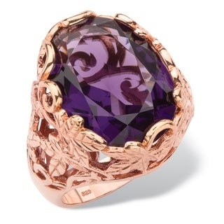 Oval-Cut Simulated Purple Amethyst Faceted Cocktail Ring with Scrolling Leaf Detailing in