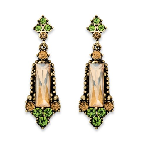 Baguette-Cut Champagne and Round Green Faceted Simulated Crystal Vintage-Style Drop Earrin