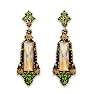 PalmBeach Baguette-Cut Champagne and Round Green Faceted Simulated Crystal Vintage-Style Drop Earrings in Anti Bold Fashion