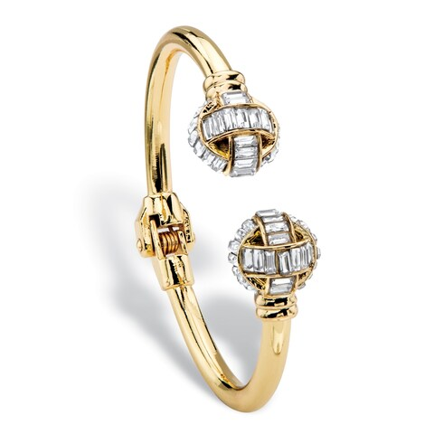 "Baguette-Cut White Crystal Ball Hinged Cuff Bracelet in Gold Tone 8"" Bold Fashion"
