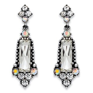 Baguette-Cut and Round Simulated Crystal Antiqued Silvertone Vintage-Style Faceted Drop Ea