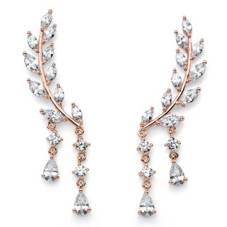 Marquise and Pear-Cut White Crystal Laurel Leaf and Hanging Crystal Accent Ear Climber Ear