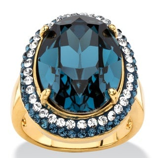 PalmBeach Oval-Cut Sapphire Blue Crystal Halo Ring with Blue and White Crystal Accents MADE WITH SWAROVSKI ELE Color Fun
