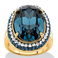 Oval-Cut Sapphire Blue Crystal Halo Ring with Blue and White Crystal Accents MADE WITH SWA