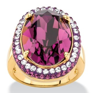 PalmBeach Oval-Cut Amethyst Purple Crystal Halo Ring with White Crystal Accents MADE WITH SWAROVSKI ELEMENTS 1 Color Fun