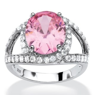 5.77 TCW Oval-Cut Simulated Pink Tourmaline CZ Halo Cocktail Ring in Platinum over Sterlin