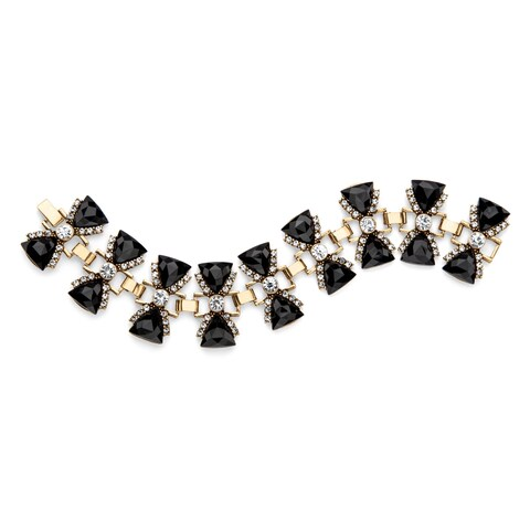 Trilliant-Cut Faceted Simulated Black Onyx and White Crystal Antiqued Gold Tone Bow Tie Br