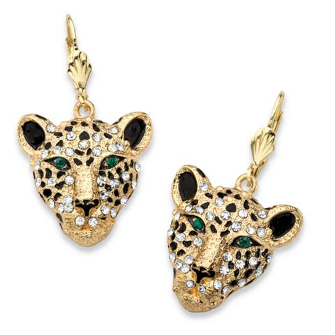 White Crystal Leopard Face Drop Earrings with Green Crystal Accents in Gold Tone Bold Fash