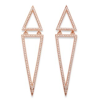 PalmBeach 1.13 TCW Pave Cubic Zirconia Double Triangle Drop Earrings Rose Gold-Plated Bold Fashion