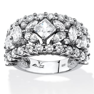 PalmBeach 4.12 TCW Princess and Marquise-Cut Cubic Zirconia Wedding Band in Platinum over .Sterling Silver Glam CZ