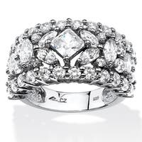 Platinum over Sterling Silver Cubic Zirconia Wedding Band Ring