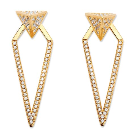 Yellow Gold-Plated Drop Earrings (37x12mm) Round Cubic Zirconia (3/4 cttw TDW)