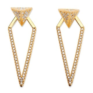 PalmBeach .75 TCW Pave Cubic Zirconia 2-in-1 Pyramid Triangle Jacket Earrings 14k Gold-Plated Bold Fashion
