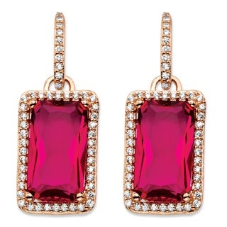 PalmBeach 32.80 TCW Emerald-Cut Rose Cubic Zirconia Halo Drop Earrings Rose Gold-Plated with White CZ Accents Color Fun