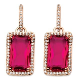 32.80 TCW Emerald-Cut Rose Cubic Zirconia Halo Drop Earrings Rose Gold-Plated with White C|https://ak1.ostkcdn.com/images/products/11711353/P18633430.jpg?impolicy=medium