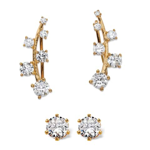 2.22 TCW Cubic Zirconia Ear Climber and Stud 2-Pair Earrings Set in 14k Gold over Sterling