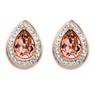 PalmBeach Pear-Cut Rose Crystal Halo Stud Earrings MADE WITH SWAROVSKI ELEMENTS Rose Gold over Sterling Silver Color Fun