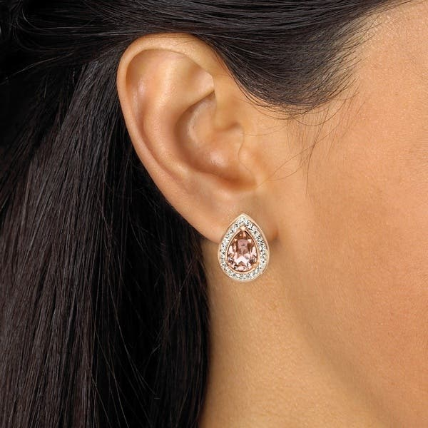 Pear Cut Rose Crystal Halo Stud Earrings Made With