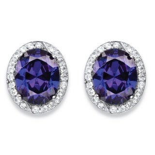 PalmBeach 5.43 TCW Oval-Cut Simulated Tanzanite and Cubic Zirconia Halo Earrings in Platinum over Silver Color Fun