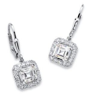 PalmBeach 3.20 TCW Princess-Cut Cubic Zirconia Halo Drop Earrings in Platinum over Sterling Silver with Lever Classic CZ