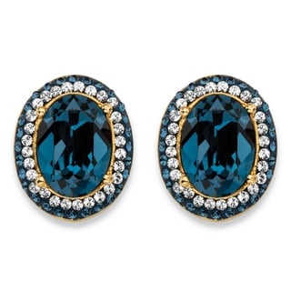 PalmBeach Oval-Cut Sapphire Blue Crystal Halo Stud Earrings MADE WITH SWAROVSKI ELEMENTS 18k Gold-Plated Color Fun