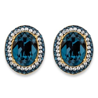 Oval-Cut Sapphire Blue Crystal Halo Stud Earrings MADE WITH SWAROVSKI ELEMENTS 18k Gold-Pl