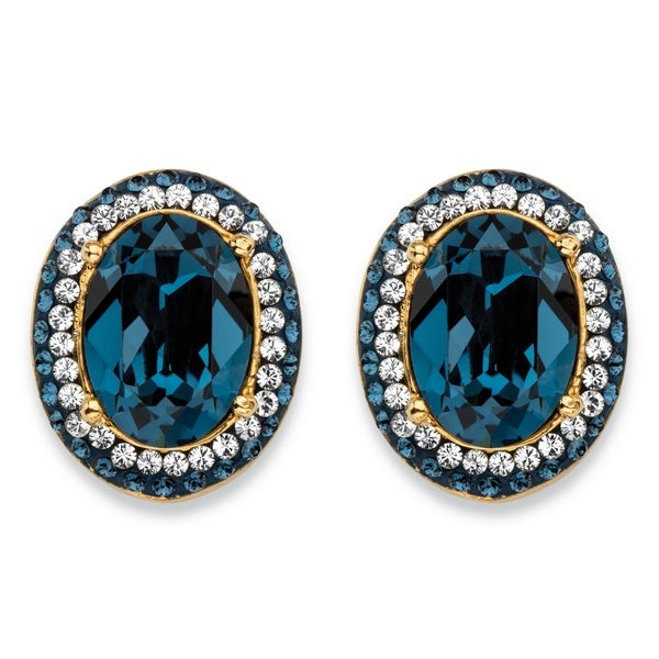 Oval Cut Shire Blue Crystal Halo Stud Earrings Made With Swarovski Elements Gold Pl