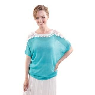 Hadari Women's Contrast Crochet Lace Short Sleeve Fashion Top (One Size)