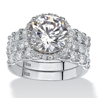 5.78 TCW Round Cubic Zirconia Three-Piece Halo Bridal Set in Platinum over Sterling Silver