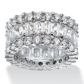 12.42 TCW Baguette-Cut Cubic Zirconia Eternity Ring in Platinum over Sterling Silver Glam|https://ak1.ostkcdn.com/images/products/11711367/P18633435.jpg?impolicy=medium
