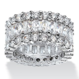 Copy designer flower eternity wedding ring cubic zirconia