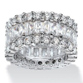 12.42 TCW Baguette-Cut Cubic Zirconia Eternity Ring in Platinum over Sterling Silver Glam