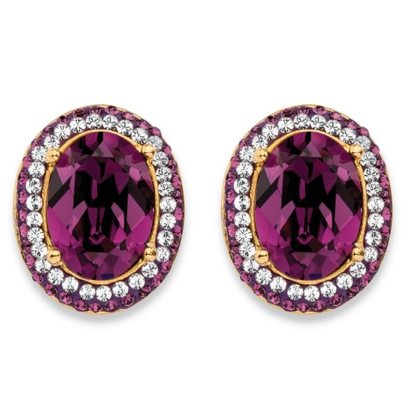 Oval-Cut Amethyst Purple Crystal Halo Stud Earrings with White Crystal Accents MADE WITH S