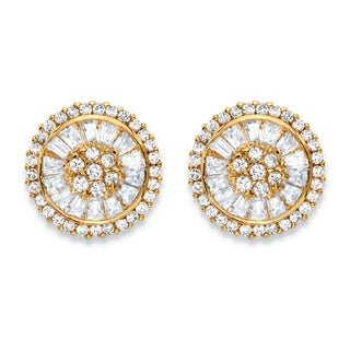 PalmBeach 3.11 TCW Round and Baguette-Cut White Cubic Zirconia Cluster Halo Stud Earrings 14k Gold-Plated Glam CZ