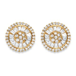 3.11 TCW Round and Baguette-Cut White Cubic Zirconia Cluster Halo Stud Earrings 14k Gold-P