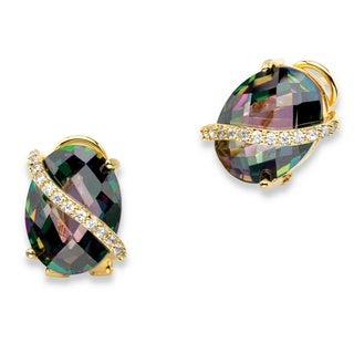 PalmBeach 19.03 TCW Oval-Cut Faceted Mystic Cubic Zirconia Drop Earrings 14k Gold-Plated with White CZ Accents Color Fun
