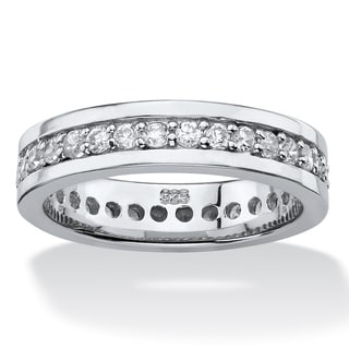 PalmBeach .80 TCW Round Cubic Zirconia Eternity Channel Ring in Platinum over Sterling Silver Classic CZ