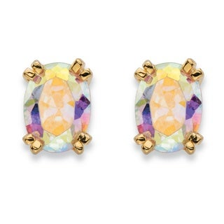 PalmBeach 2.42 TCW Oval-Cut Aurora Borealis Cubic Zirconia Stud Earrings 14k Gold-Plated Color Fun