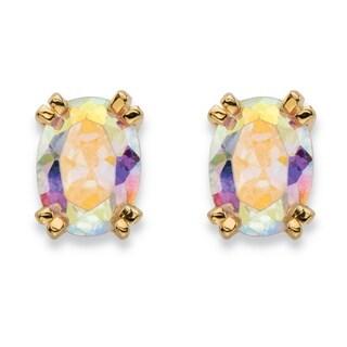 2.42 TCW Oval-Cut Aurora Borealis Cubic Zirconia Stud Earrings 14k Gold-Plated Color Fun