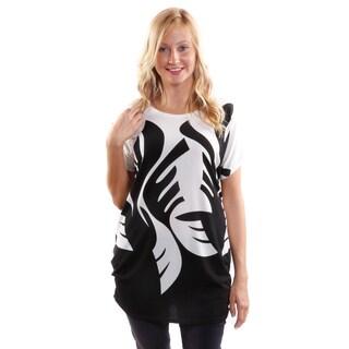 Hadari Women's Leafy Short Sleeve Fashion Tunic