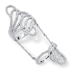 1.26 TCW Micro-Pave Cubic Zirconia Swirling Knuckle Ring in Platinum over Sterling Silver