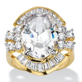 PalmBeach 11.50 TCW Oval and Baguette-Cut Cubic Zirconia Vintage-Style Cocktail Ring 14k Gold-Plated Glam CZ