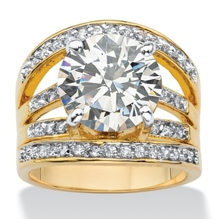 6.55 TCW Round Cubic Zirconia Multi-Row Engagement Ring 14k Gold-Plated Glam CZ