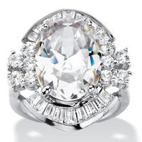 Silver Tone Cubic Zirconia Ring - White