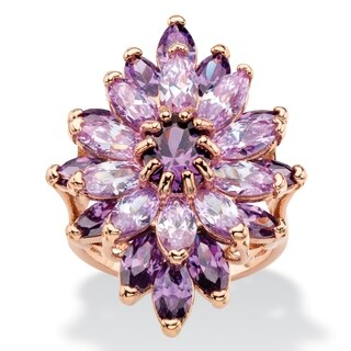 Rose Gold-Plated Multi-color Cubic Zirconia Ring - Purple
