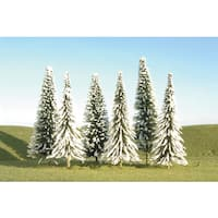 Bachmann Trains 5-inch- 6-inch Pine Trees With Snow (6 Per Box) - HO Scale