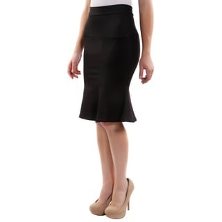 Hadari Women's High Waisted Mermaid Knee Length Fashion Skirt