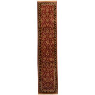 Herat Oriental Indo Hand-knotted Kashan Red/ Black Wool Runner (2'7 x 12'2)