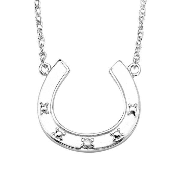 e8c483715db1d Shop Sterling Silver Diamond Accent Horseshoe Necklace - On Sale ...